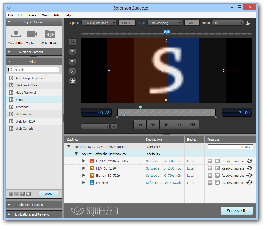 screenshot.Sorenson Squeeze نرم افزار تبدیل ویدئو Sorenson Squeeze Pro 9 0 3 11