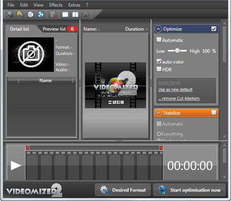 screenshot.Videomizer نرم افزار بهینه سازی و تغییر فرمت ویدیوها Videomizer 2 0 14 218