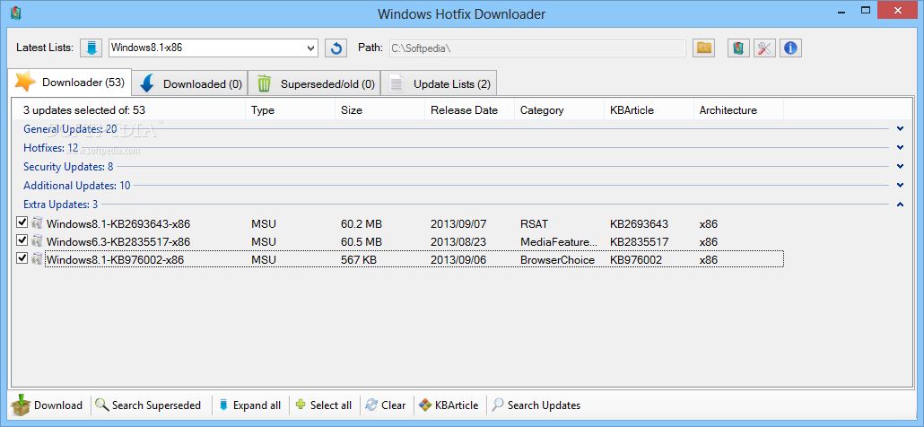 screenshot.Windows.Hotfix.Downloader 1 نرم افزار دانلود آپدیت های ویندوز Windows Hotfix Downloader 7 5