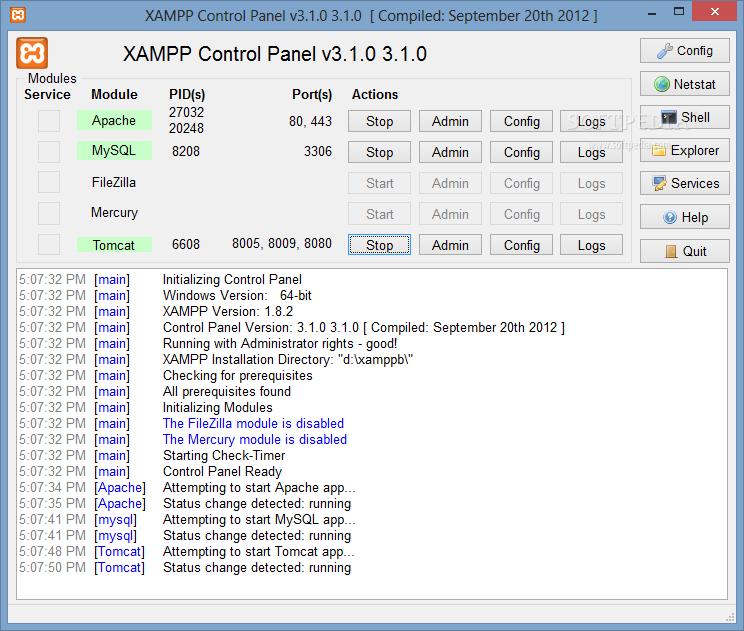 screenshot.XAMPP  نرم افزار شبیه ساز وب سرور XAMPP 1 8 3 3 Final