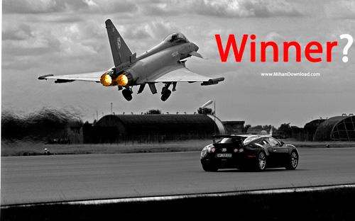 winner دانلود فیلم مسابقه بوگاتی ویرون و جنگنده یورو فایگتر TopGear BBC