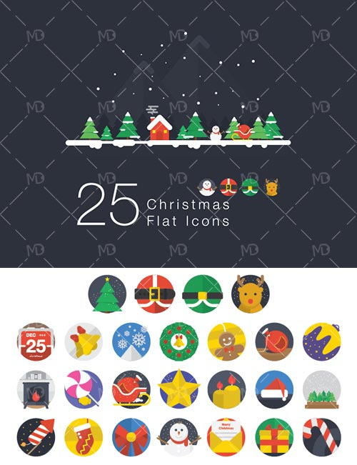 25-Christmas-And-New-Year-2015-Flat-Icon