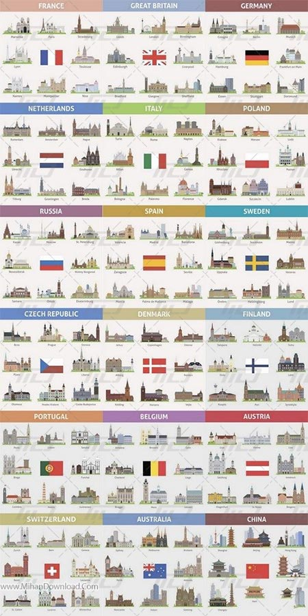 Detailed cities landmarks and skylines