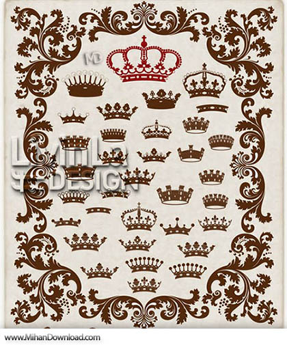 Stock Vector - Crown Heraldic Elements 2
