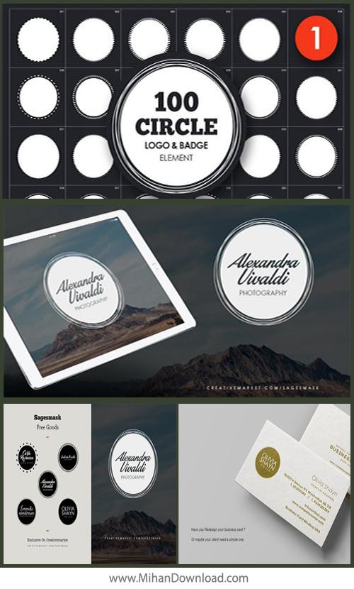 دانلود بسته psd از لوگو و مارک های تجاری CreativeMarket Circle Logo Badge Element