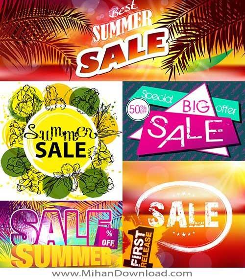 دانلود وکتور مناسب طراحی برای فروش تابستانی summer sales design