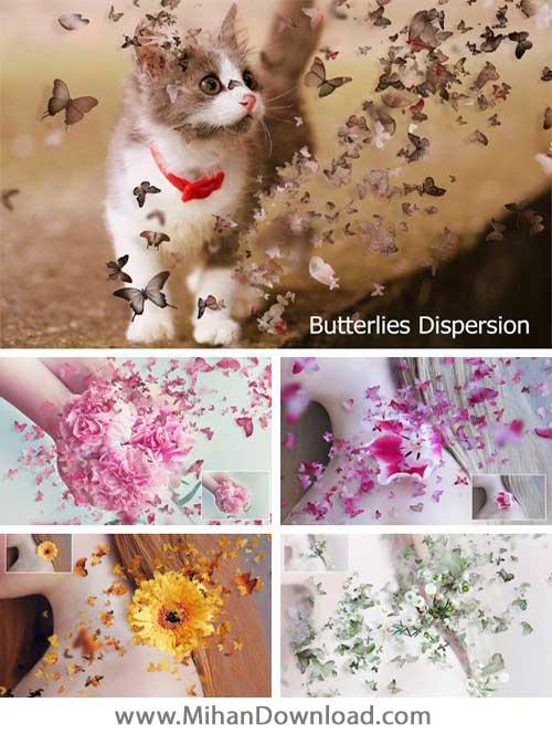 دانلود اکشن فتوشاپ ساخت پروانههای کوچک در کنار سوژه