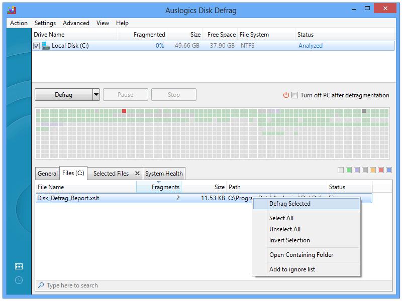 screenshot.Auslogics Disk Defrag -3